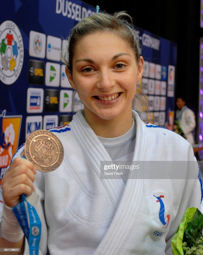 Current European champion, <a gi-track='captionPersonalityLinkClicked' href=/galleries/search?phrase=Automne+Pavia&family=editorial&specificpeople=7182223 ng-click='$event.stopPropagation()'>Automne Pavia</a> of France, poses with her u57kg bronze medal during the Dusseldorf Grand Prix on Friday, February 20 2015 at the Mitsubishi Electric Halle, Dusseldorf, Germany.