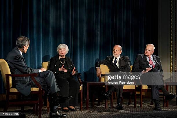 Current Federal Reserve Chair Janet Yellen speaks during a conversation and former Federal Reserve Chairs Ben Bernanke Paul A Volcker April 7 2016 in...