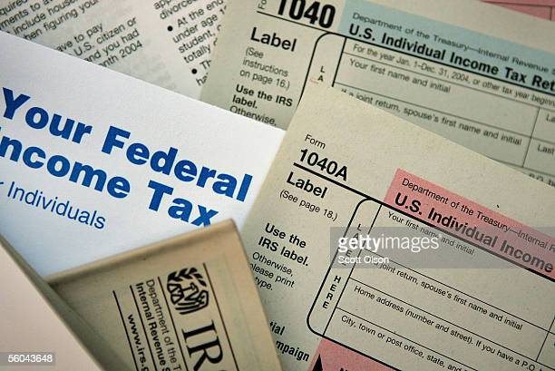 Current federal tax forms are distributed at the offices of the Internal Revenue Service November 1 2005 in Chicago Illinois A presidential panel...