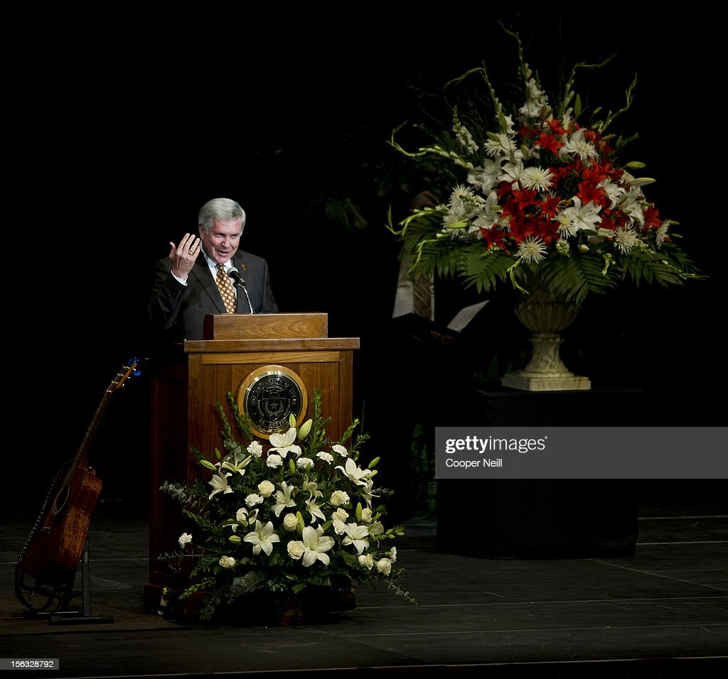 Current head coach Mack Brown speaks during a memorial service for former University of Texas Longhorns head coach Darrell K Royal on November 13, 2012 at the Frank Erwin Center in Austin, Texas.