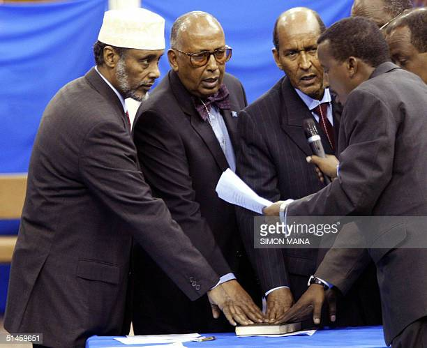 Current president of Somalia Abdulkassim Salat Hassan and other candidates in Somalia's presidential election swear on the Koran to acknowledge the...