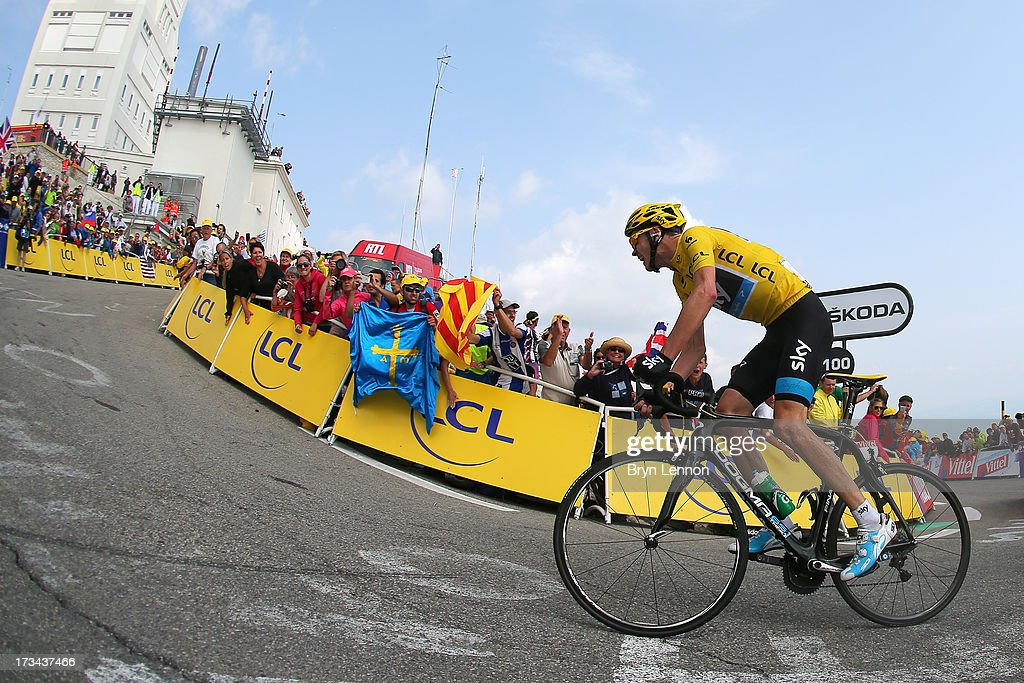 Current race leader and wearer of the Maillot Jaune, Chris Froome of Great Britain and SKY Procycling attacks to win the stage during stage fifteen of the 2013 Tour de France, a 242.5KM road stage from Givors to Mont Ventoux, on July 14, 2013 on Mont Ventoux, France.