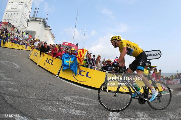 Current race leader and wearer of the Maillot Jaune Chris Froome of Great Britain and SKY Procycling attacks to win the stage during stage fifteen of...