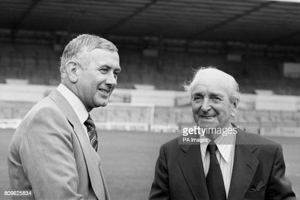 Current Sunderland Manager Jimmy Adamson who is not on contract at Sunderland at Elland road with Leeds United deputy chairman Bob Roberts after...
