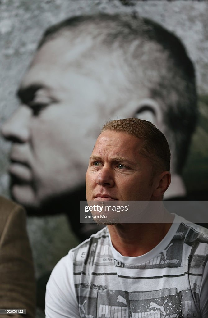Current WBO Asia Pacific Oriental Heavyweight Champion Shane Cameron talks to media at a press conference at Shane Cameron Fitness on September 24...