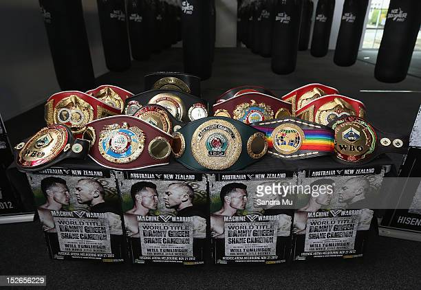 Current WBO Asia Pacific Oriental Heavyweight Champion Shane Cameron displays his entire collection of belts at a press conference at Shane Cameron...