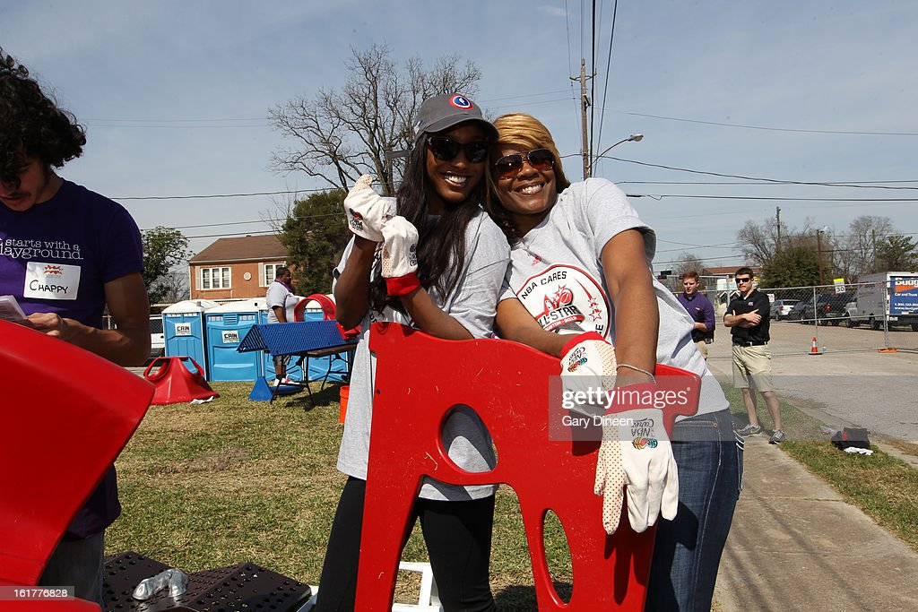 Current WNBA Star Candice Wiggins and Former WNBA Star Sheryl Swoopes Smile for the camera at the 2013 NBA Cares Day of Service at the Playground Build with KaBOOM! on February 15, 2013 in Houston, Texas.
