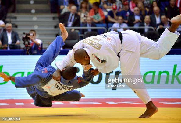 Current World and Olympic champion Teddy Riner of France throws Or Sasson of Israel for ippon in his first o100kg match during the Chelyabinsk Judo...