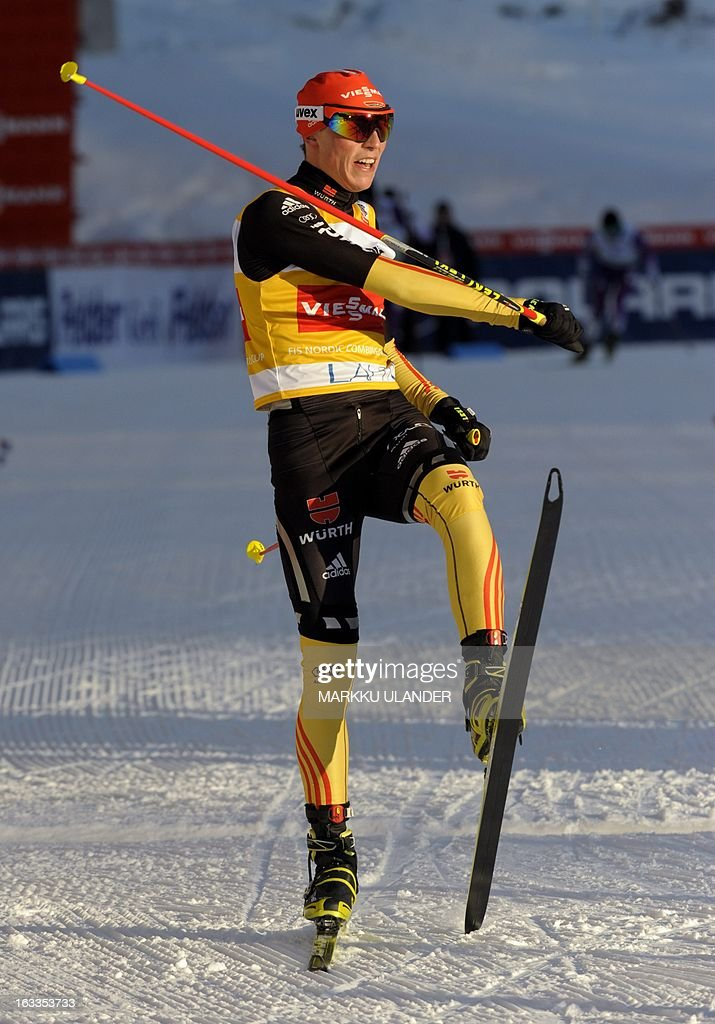 Current World Cup leader, Germany's Eric Frenzel celebrates as he crosses the finish line to win the Nordic Combined individual Gundersen 10 km cross country skiing event at the Lahti Ski Games, FIS World Cup event, in Lahti, on March 8, 2013. Frenzel won the event. LEHTIKUVA / Markku Ulander FINLAND OUT