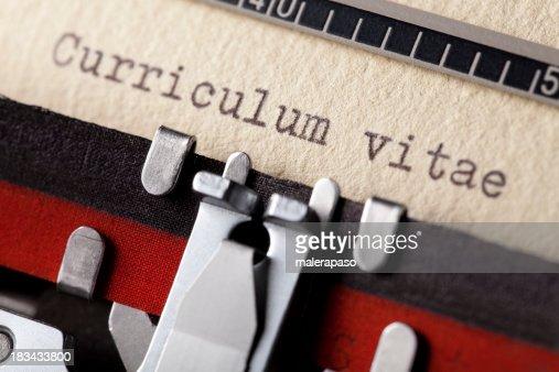 Curriculum vitae written on an old typewriter