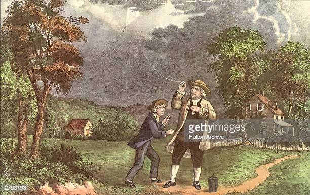 A Currier Ives lithograph of Benjamin Franklin and his son William using a kite and key during a storm to prove that lightning was electricity June...