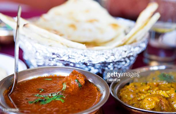 Curries with naan bread