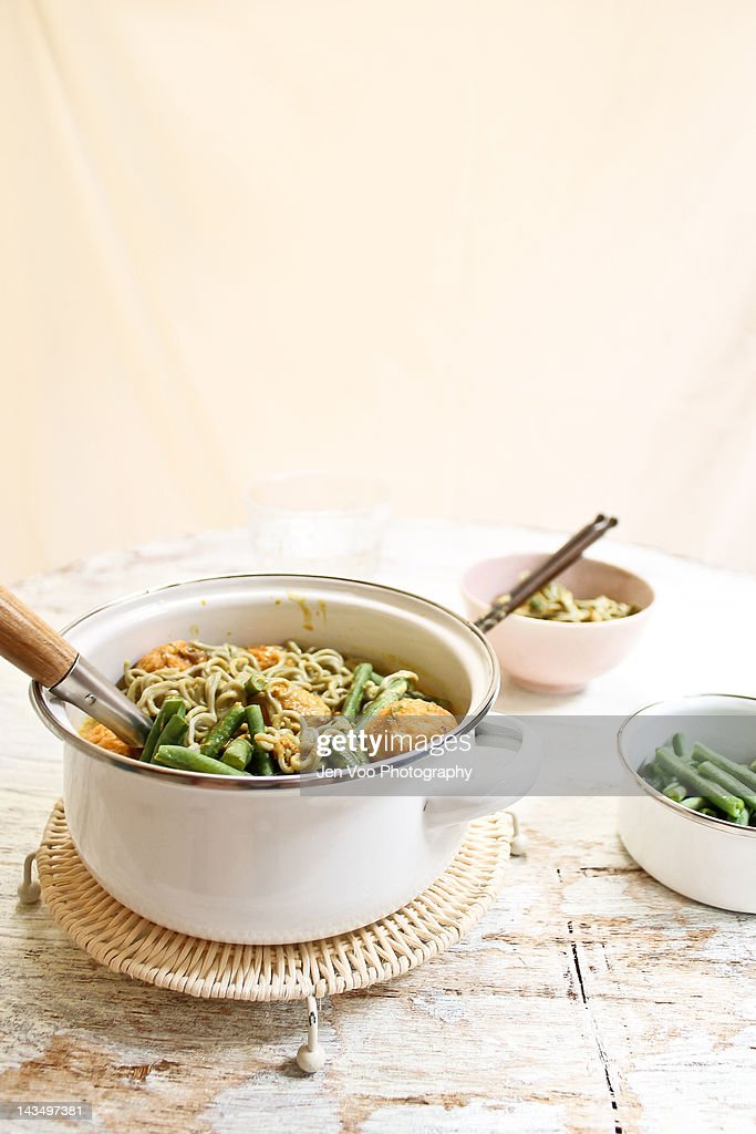 Curry bamboo charcoal ramen noodles : Stock Photo