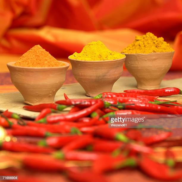Curry, curcuma and chilli powder with red chillies, close-up