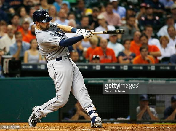 Curt Casali of the Tampa Bay Rays connects on a solo home run in the fifth inning during their game against the Houston Astros at Minute Maid Park on...