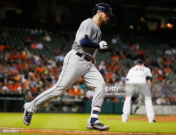 Curt Casali of the Tampa Bay Rays trots around the bases after hitting a solo home run off Scott Feldman of the Houston Astros in the fifth inning...
