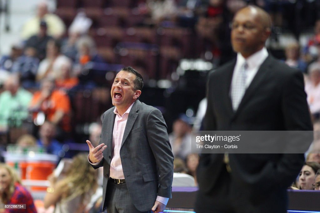 Curt Miller, head coach of the Connecticut Sun, on the sideline during the Connecticut Sun Vs Dallas Wings, WNBA regular season game at Mohegan Sun Arena on August 12th, 2017 in Uncasville, Connecticut.