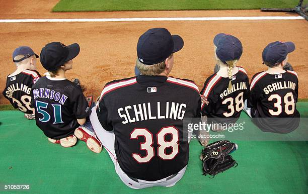 Curt Schilling and his and Randy Johnson's children before the Major League Baseball Century 21 Home Run Derby at Minute Maid Park on July 12 2004 in...