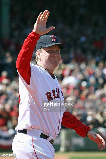 Curt Schilling of the Boston Red Sox heads out on to the field to get his 2007 World Series Championship Ring before the game the Detroit Tigers on...