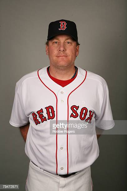 Curt Schilling of the Boston Red Sox poses during photo day at City of Palms Park on February 24 2007 in Ft Myers Florida
