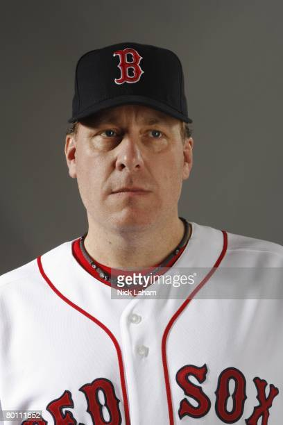 Curt Schilling of the Boston Red Sox poses during photo day at the Red Sox spring training complex on February 24 2008 in Fort Myers Florida
