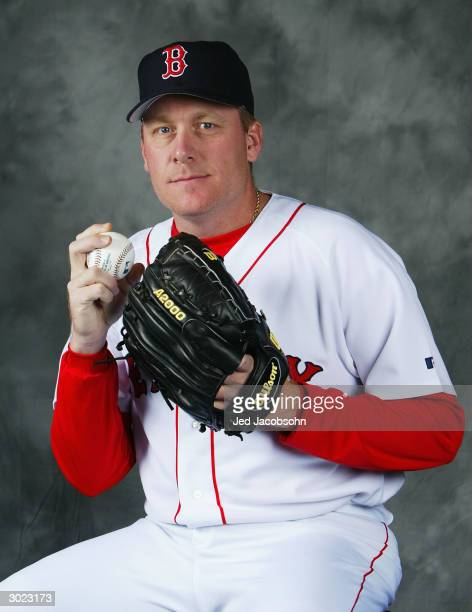 Curt Schilling of the Boston Red Sox poses for a portrait during Photo Day at their spring training facility on February 28 2004 in Ft Myers Florida