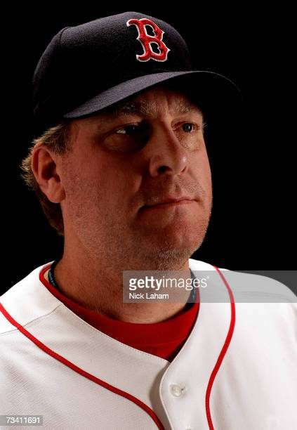 Curt Schilling of the Boston Red Sox poses for a portrait during the Boston Red Sox Photo Day at the Red Sox spring training complex on February 24...
