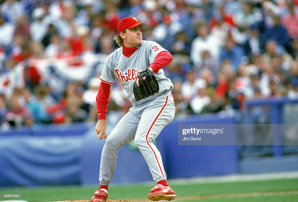 Curt Schilling of the Philadelphia Phillies pitches during Game five of the 1993 National League Championship Series against the Atlanta Braves at...