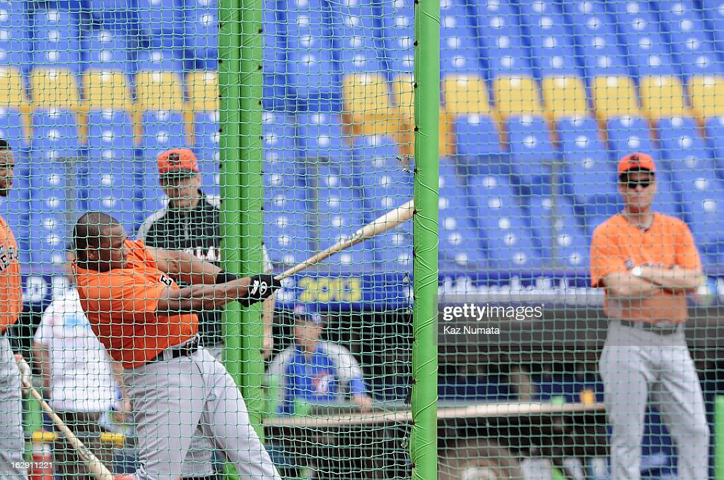 Curt Smith #18 of Team Netherlands takes batting practice during the World Baseball Classic workout day at Taichung Intercontinental Baseball Stadium on March 1, 2013 in Taichung, Taiwan.