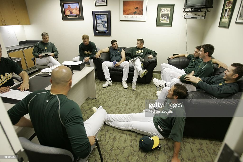 Curt Young of the Oakland Athletics conducts a pitchers' meeting in the clubhouse before the game against the Chicago White Sox on MLB Opening Night at the McAfee Coliseum in Oakland, California on April 9, 2007. The White Sox defeated the Athletics 4-1.
