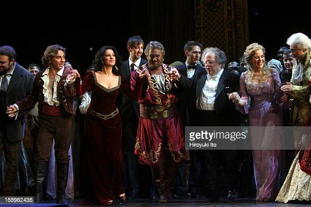 Curtain call at the 125th Anniversary Gala at the Metropolitan Opera House on Sunday night March 15 2009This imageFrom left Joseph Calleja Roberto...
