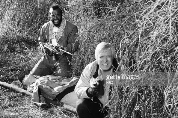 TEAM 'Curtain Call' Episode 23 Pictured Mr T as BA Baracus George Peppard as John 'Hannibal' Smith Photo by NBCU Photo Bank
