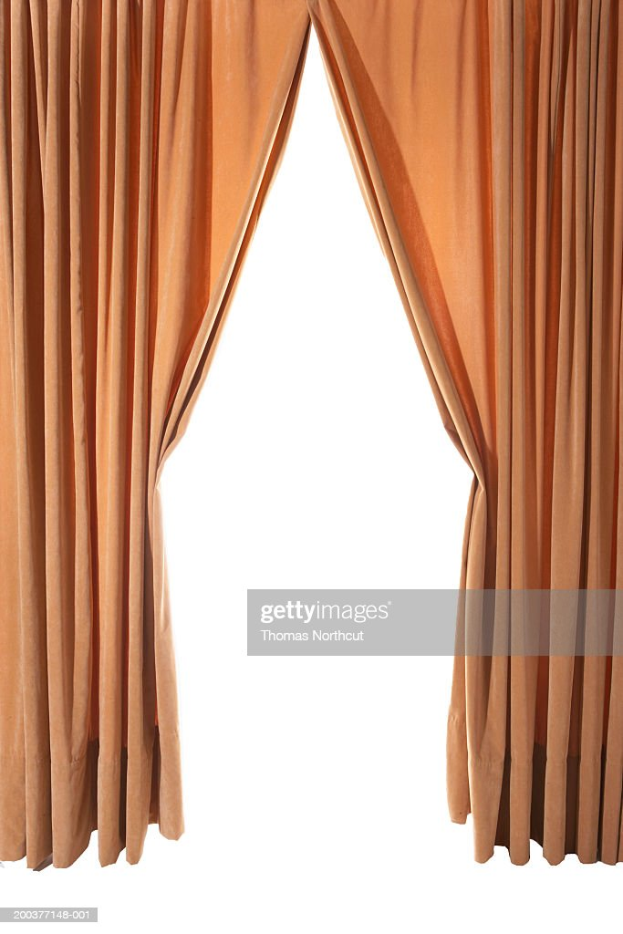 Great Curtains Drawn Back : Stock Photo
