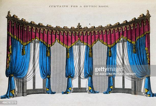 Curtains for a gothic style room illustration by George Smith from Cabinet Maker and Upholsterer's Guide 1826 United Kingdom 19th century