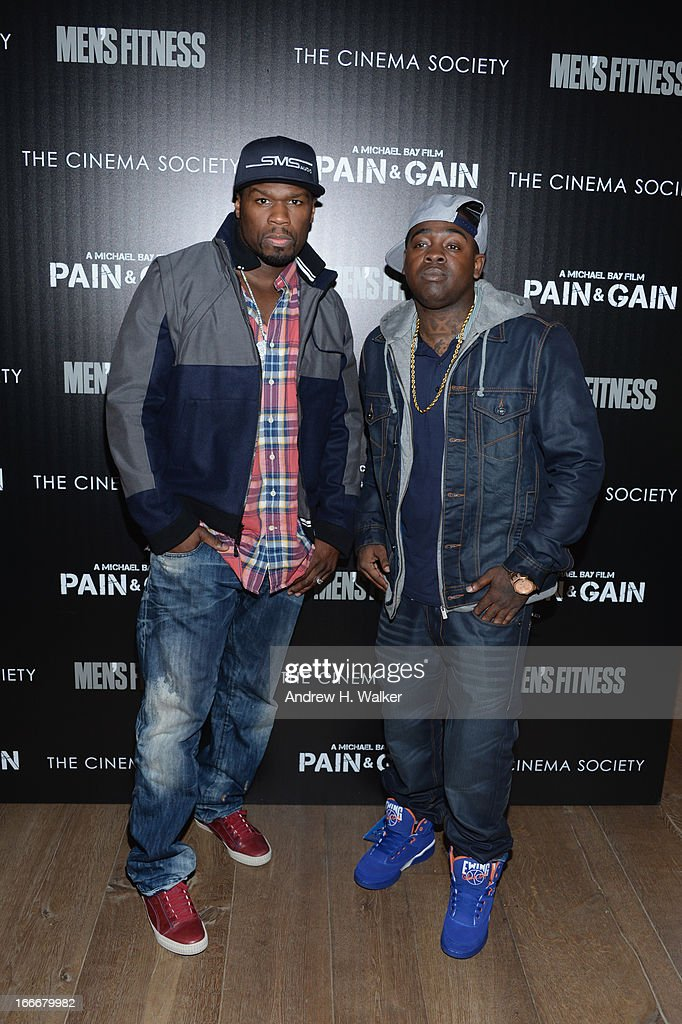 Curtis '<a gi-track='captionPersonalityLinkClicked' href=/galleries/search?phrase=50+Cent+-+Rapper&family=editorial&specificpeople=215363 ng-click='$event.stopPropagation()'>50 Cent</a>' Jackson and guest attend the Cinema Society screening of 'Pain And Gain' at Crosby Street Hotel on April 15, 2013 in New York City.