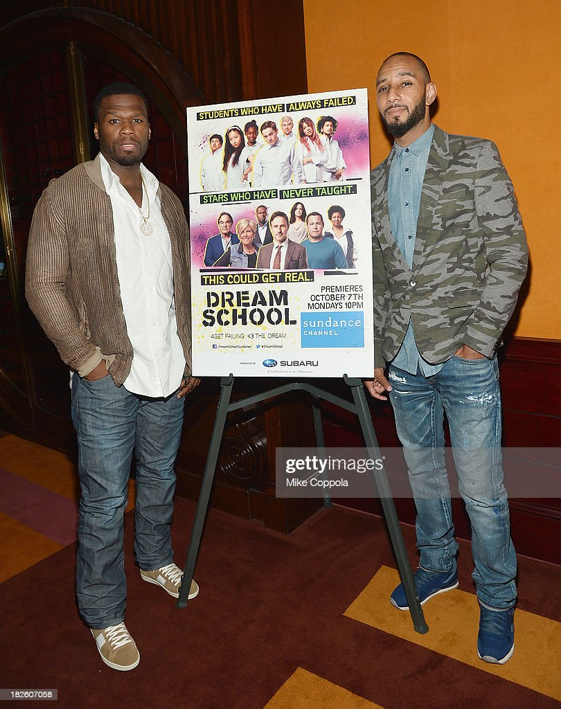 Curtis '<a gi-track='captionPersonalityLinkClicked' href=/galleries/search?phrase=50+Cent+-+Rapper&family=editorial&specificpeople=215363 ng-click='$event.stopPropagation()'>50 Cent</a>' Jackson (L) and <a gi-track='captionPersonalityLinkClicked' href=/galleries/search?phrase=Swizz+Beatz&family=editorial&specificpeople=567154 ng-click='$event.stopPropagation()'>Swizz Beatz</a> pose for a picture before speaking on a Panel On Education In Anticipation Of Upcoming Series 'Dream School' on October 1, 2013 in New York City.