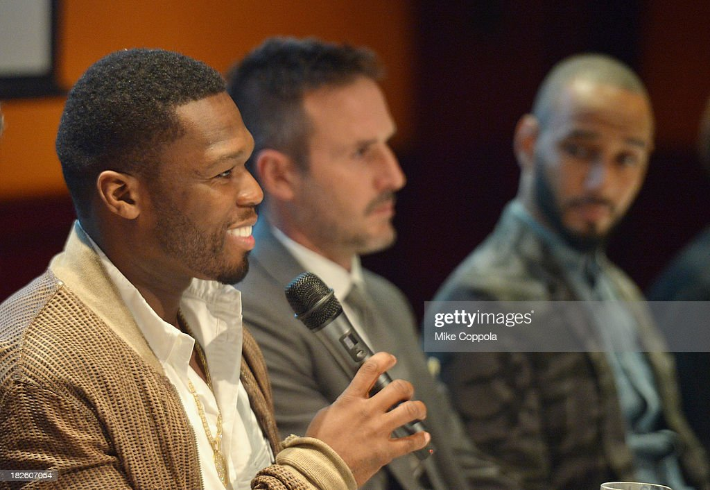 Curtis '<a gi-track='captionPersonalityLinkClicked' href=/galleries/search?phrase=50+Cent+-+Rapper&family=editorial&specificpeople=215363 ng-click='$event.stopPropagation()'>50 Cent</a>' Jackson, <a gi-track='captionPersonalityLinkClicked' href=/galleries/search?phrase=David+Arquette&family=editorial&specificpeople=201740 ng-click='$event.stopPropagation()'>David Arquette</a>, and <a gi-track='captionPersonalityLinkClicked' href=/galleries/search?phrase=Swizz+Beatz&family=editorial&specificpeople=567154 ng-click='$event.stopPropagation()'>Swizz Beatz</a> speak on a Panel On Education In Anticipation Of Upcoming Series 'Dream School' on October 1, 2013 in New York City.