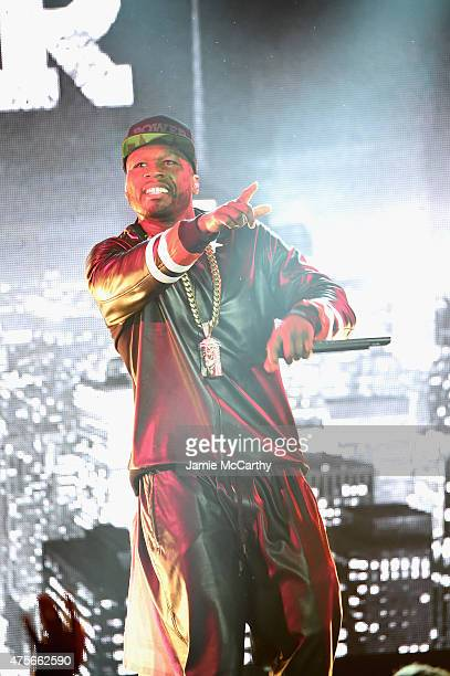 Curtis '50 Cent' Jackson performs during the 'Power' season two premiere event with a special performance from 50 Cent GUnit and other guests on June...