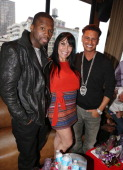 Curtis '50 Cent' Jackson Renee Graziano and DJ Pauly D attend Summer Kickoff Event at Hudson Terrace on May 23 2013 in New York City
