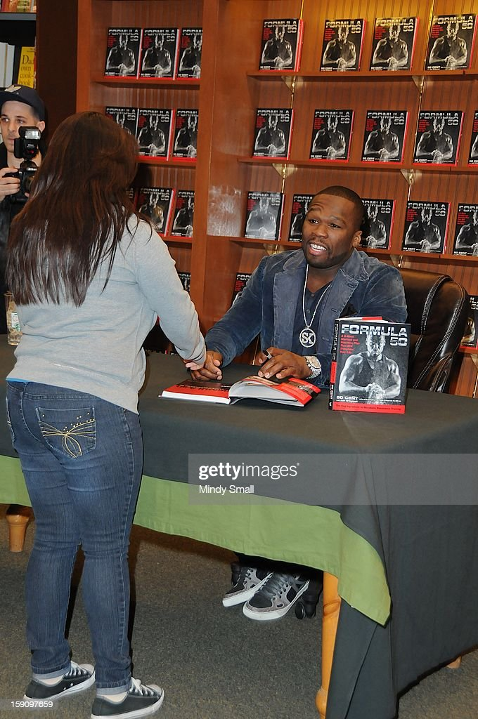 Curtis '<a gi-track='captionPersonalityLinkClicked' href=/galleries/search?phrase=50+Cent+-+Rapper&family=editorial&specificpeople=215363 ng-click='$event.stopPropagation()'>50 Cent</a>' Jackson signs copies of his book 'Formula 50' on January 7, 2013 in Las Vegas, Nevada.