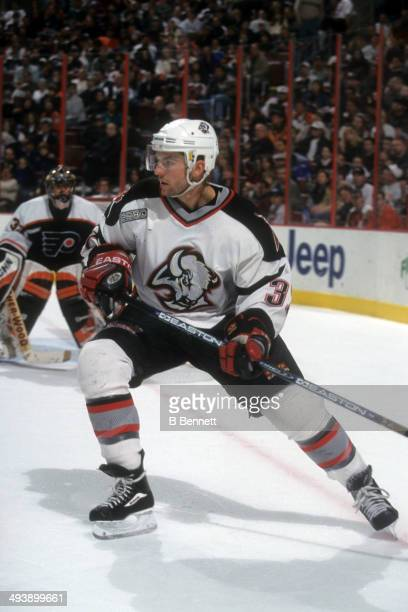 Curtis Brown of the Buffalo Sabres skates on the ice during an NHL game against the Philadelphia Flyers on February 12 2000 at the Wells Fargo Center...