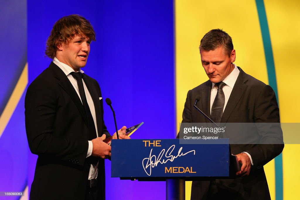 Curtis Browning accepts his award for 'U20's Player of the Year' during the John Eales Medal at the Sydney Convention and Exhibition Centre on November 1, 2012 in Sydney, Australia.