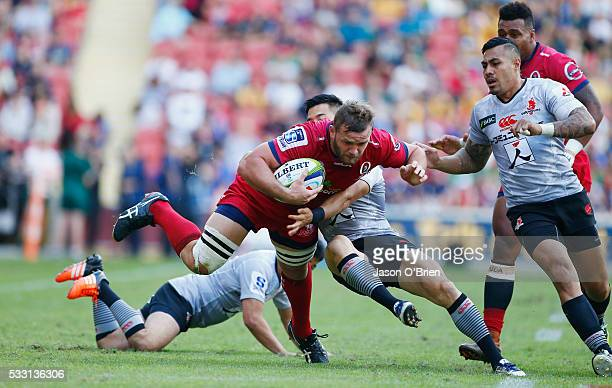Curtis Browning of the reds in action during the round 13 Super Rugby match between the Reds and the Sunwolves at Suncorp Stadium on May 21 2016 in...