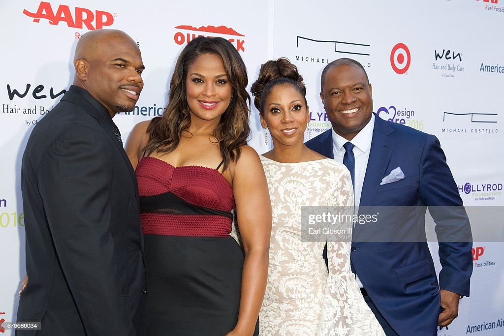 Curtis Conway Laila Ali Holly Robinson Peete and Rodney Peete attend the 18th Annual DesignCare Gala on July 16 2016 in Pacific Palisades California