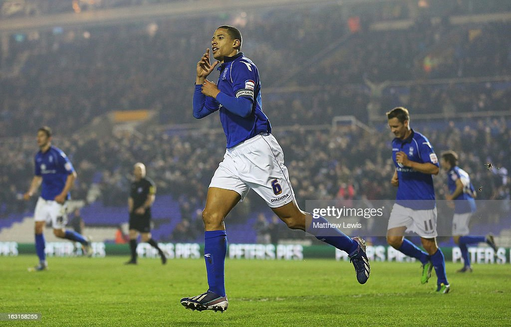 <a gi-track='captionPersonalityLinkClicked' href=/galleries/search?phrase=Curtis+Davies&family=editorial&specificpeople=647039 ng-click='$event.stopPropagation()'>Curtis Davies</a> of Birmingham celebrates his goal during the npower Championship match between Birmingham City and Blackpool at St Andrews on March 5, 2013 in Birmingham, England.