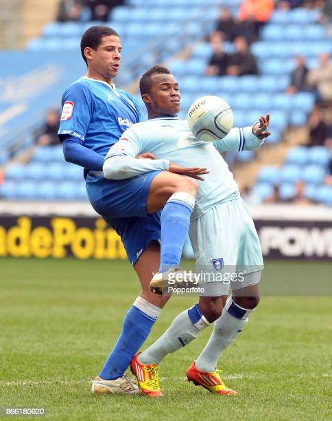Curtis Davies of Birmingham City and Alex Nimely of Coventry City in action during an Npower Championship match at the Ricoh Arena on March 10 2012...