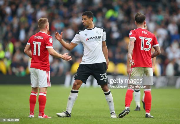 Curtis Davies of Derby County shakes hands with Ben Osborn of Nottingham Forest after the Sky Bet Championship match between Derby County and...