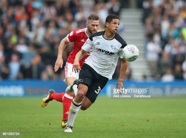 Curtis Davies of Derby County turns away from Daryl Murphy of Nottingham Forest during the Sky Bet Championship match between Derby County and...