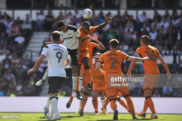 Curtis Davies of Derby headers the ball during the Sky Bet Championship match between Derby County and Wolverhampton at iPro Stadium on August 12...