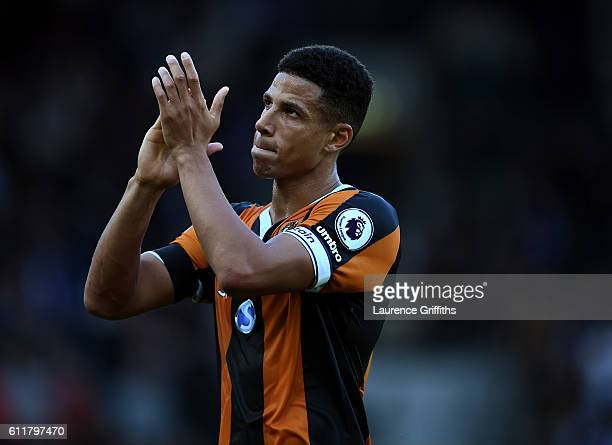 Curtis Davies of Hull City shows apperciation to the fans during the Premier League match between Hull City and Chelsea at KCOM Stadium on October 1...